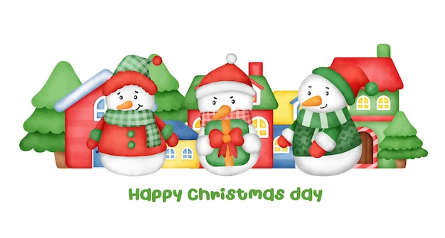 Boże narodzenie i nowy rok kartkę z życzeniami z cute bałwana.