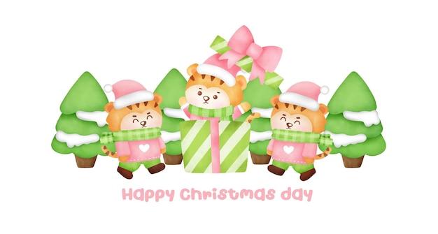 Boże narodzenie i nowy rok kartkę z życzeniami z cute tygrysy.