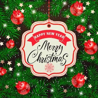 Boże narodzenie i nowy rok napis na tag