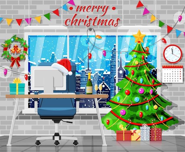 Boże narodzenie i nowy rok office desk workspace wnętrz. pudełko prezentowe, choinka, komputer, krzesło, szampan, pejzaż miejski. dekoracja nowego roku. wesołych świąt bożego narodzenia obchody bożego narodzenia. ilustracja wektorowa