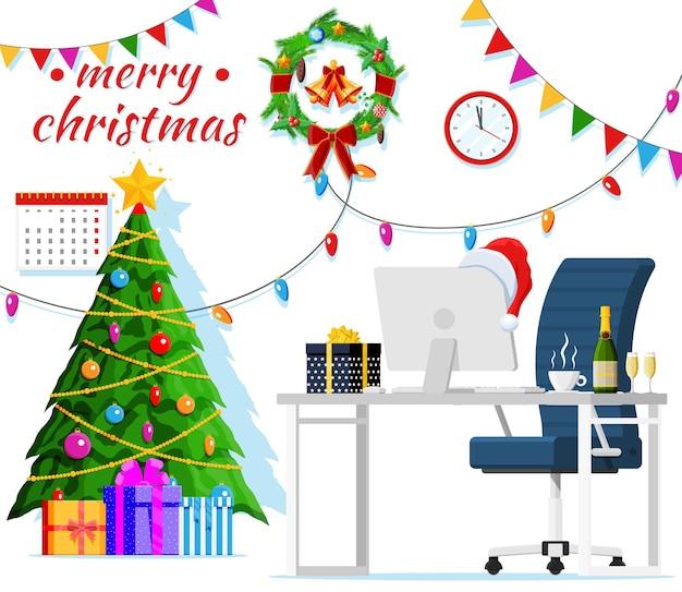 Boże narodzenie i nowy rok office desk workspace wnętrz. pudełko prezentowe, choinka, krzesło, komputer pc, zegary. dekoracja nowego roku. wesołych świąt bożego narodzenia obchody bożego narodzenia. ilustracja wektorowa