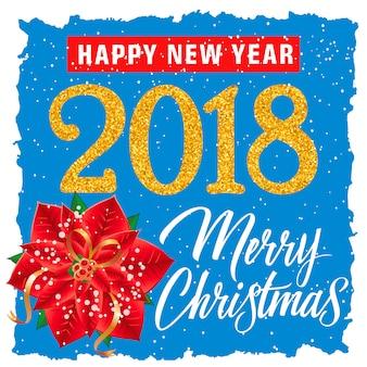 Boże narodzenie i nowy rok plakat z kwiatem