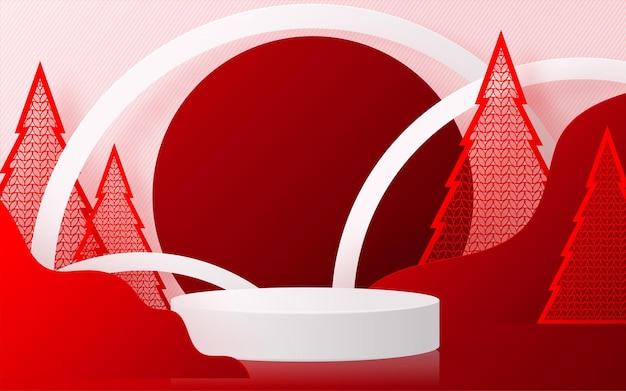 Boże narodzenie i nowy rok podium tło wektor projekt produktów 3d lub pokaż wyświetlacz produktów kosmetycznych. cokół lub platforma sceniczna. zima boże narodzenie czerwone tło.
