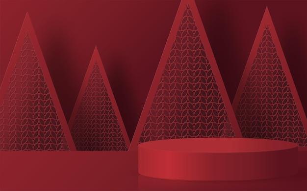 Boże narodzenie i nowy rok podium tło wektor projektowania produktów 3d