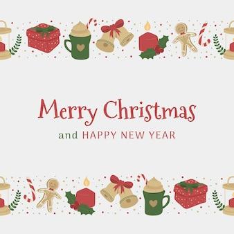 Boże narodzenie i nowy rok szablon transparentu w mediach społecznościowych