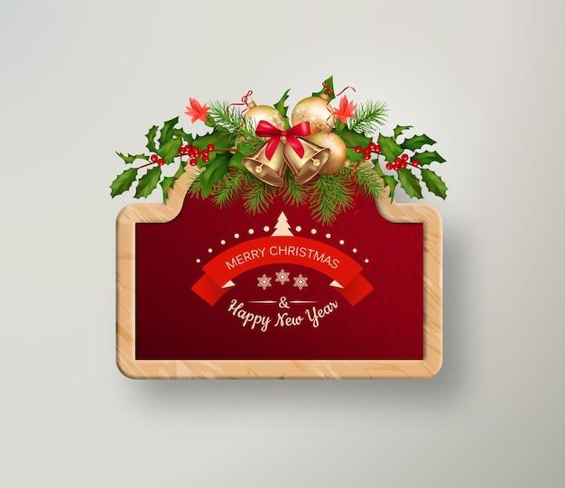 Boże narodzenie i nowy rok szyld z girlandą świąteczną