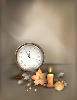 Boże narodzenie i nowy rok tło z rocznika zegar