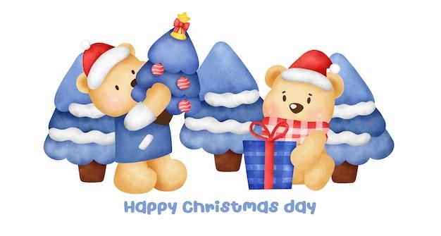 Boże narodzenie i nowy rok transparent z postacią słodkiego misia w stylu akwareli.