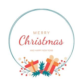 Boże narodzenie i nowy rok wieniec pocztówka świąteczny projekt ogłoszenia zaproszenia plakaty