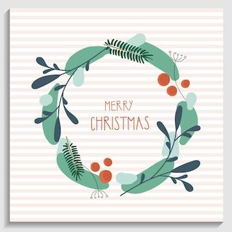 Boże narodzenie i nowy rok wieniec z odręcznym tekstem wesołych świąt sosna wieniec element dekoracyjny