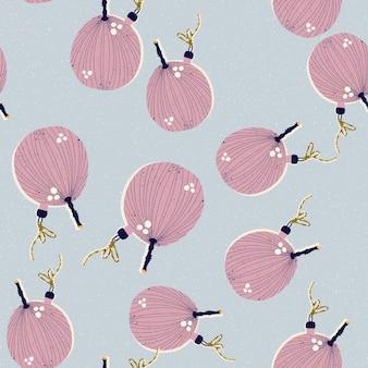 Boże narodzenie i nowy rok wzór z zabawkami choinkowymi w postaci fig