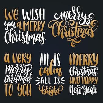 Boże narodzenie i nowy rok zestaw napisów ręka