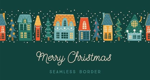 Boże narodzenie i szczęśliwego nowego roku bezszwowe granica. miasto, domy, choinki, śnieg. symbole nowego roku. modny styl retro. szablon projektu wektor.