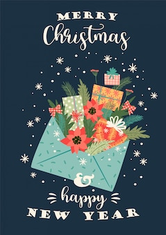 Boże narodzenie i szczęśliwego nowego roku ilustracja. szablon projektu wektor