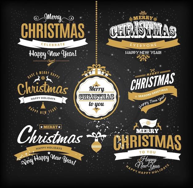 Boże Narodzenie I Szczęśliwego Nowego Roku Napis Premium Wektorów