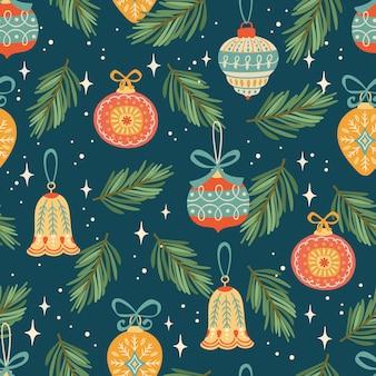 Boże narodzenie i szczęśliwego nowego roku wzór. modny styl retro.