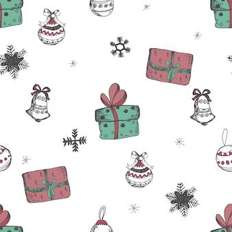 Boże narodzenie i szczęśliwego nowego roku wzór z pudełka. ładny świąteczny nadruk.