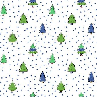 Boże narodzenie i szczęśliwego nowego roku wzór z świątecznych drzew niekończące się tło wakacje