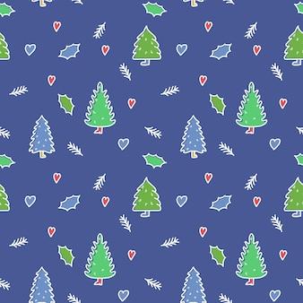 Boże narodzenie i szczęśliwego nowego roku wzór z świątecznych drzew