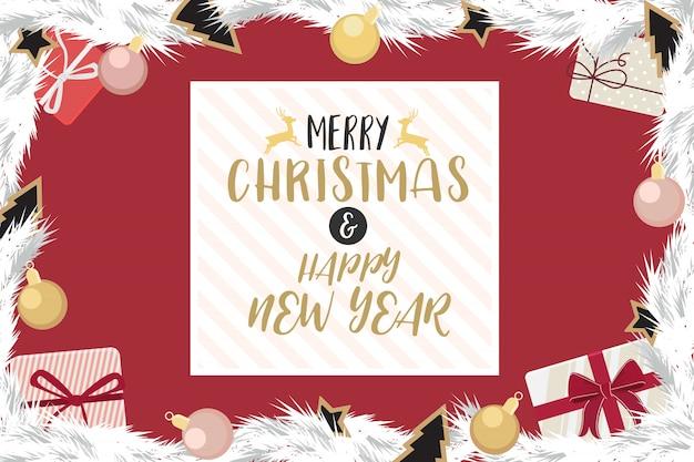 Boże narodzenie i szczęśliwego nowego roku ze złota i różowego złota.