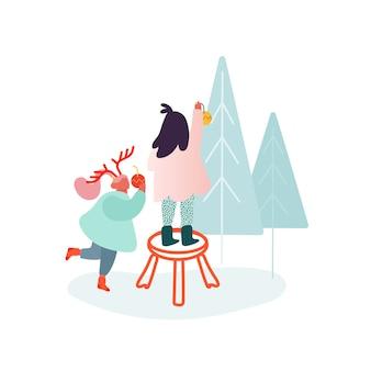 Boże narodzenie i zima uroczystość rodzinna, dzieci, dziewczynki dekorujące choinkę. postać ludzi obchodzi sylwestra. wesołych świąt bożego narodzenia.