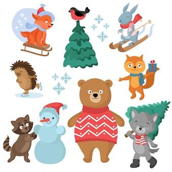 Boże narodzenie i zima wakacje śmieszne zwierzęta wektor zbiory