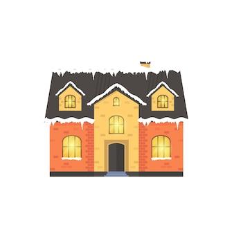 Boże narodzenie ikona z zimowym domem. idealna ilustracja wakacyjna z przytulnym domem, domkiem.