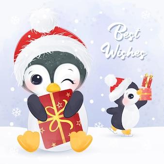 Boże narodzenie ilustracja karty z pozdrowieniami z słodkie pingwiny.