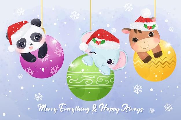 Boże narodzenie ilustracja karty z pozdrowieniami z uroczych zwierzątek