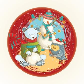 Boże narodzenie ilustracja kreskówka rzeźby bałwana w zimie z zabawnymi zwierzętami.
