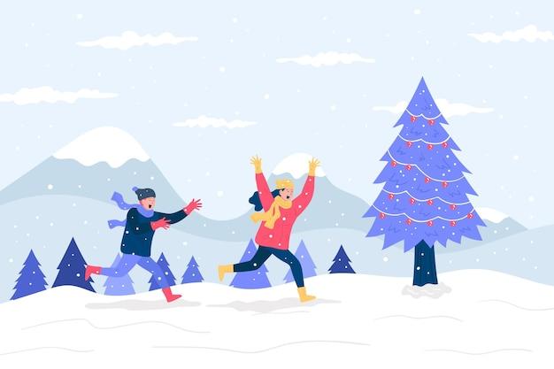 Boże narodzenie ilustracja sceny śniegu
