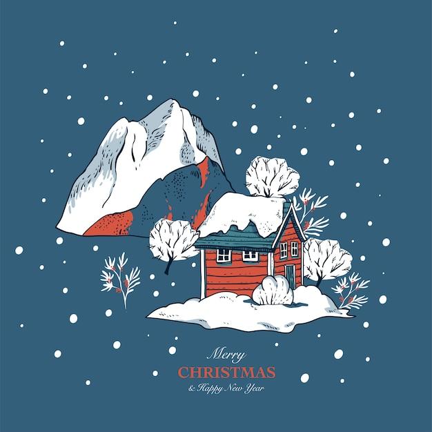 Boże narodzenie ilustracja, zimowe czerwone domy pokryte śniegiem w stylu skandynawskim, kartki świąteczne pozdrowienia