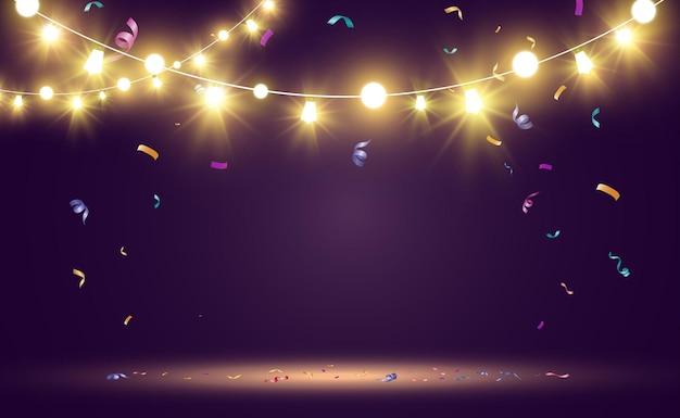 Boże narodzenie jasne piękne elementy projektu świateł świecące światła do projektowania samochodu z pozdrowieniami xmas