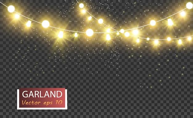 Boże narodzenie jasne, piękne światła, elementy projektu. świecące światła do projektowania kart okolicznościowych xmas. girlandy, lekkie ozdoby świąteczne.