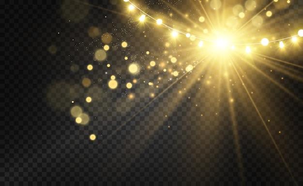 Boże narodzenie jasne, piękne światła, elementy projektu. świecące światła do projektowania kart okolicznościowych xmas
