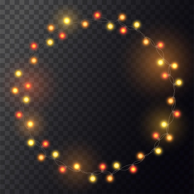 Boże narodzenie jasnożółty wianek na wieniec. koło z realistycznymi światłami na przezroczystym tle