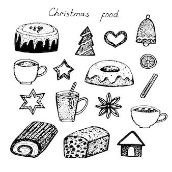 Boże narodzenie jedzenie menu wypieki wektor ilustracja ręcznie rysunek szkic