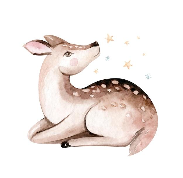 Boże narodzenie jelenie akwarela. cute kids xmas fawn forest animal illustration