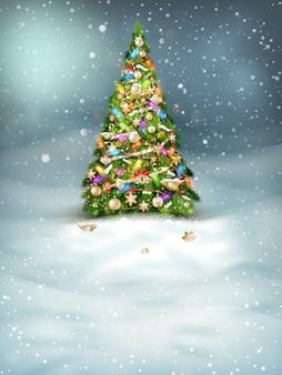 Boże narodzenie jodła na zimowy krajobraz.
