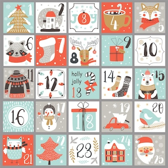 Boże narodzenie kalendarz adwentowy z ręcznie rysowane elementy. plakat świąteczny.