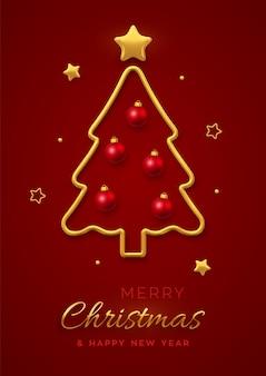 Boże narodzenie kartka z życzeniami ze złotą metaliczną choinką, czerwonymi kulkami cacko i złotymi gwiazdami