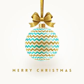 Boże narodzenie kartkę z życzeniami - bombka ze złotą kokardą