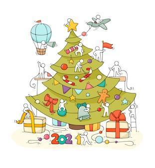 Boże narodzenie kartkę z życzeniami. kreskówka doodle ilustracja z małymi ludźmi przygotowują się do świętowania.