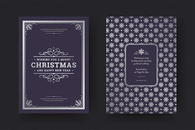 Boże narodzenie kartkę z życzeniami ozdobiony symbolami dekoracji z wakacji życzenia