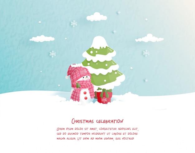 Boże narodzenie kartkę z życzeniami w stylu cięcia papieru. ilustracji wektorowych