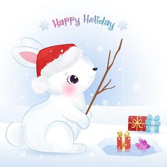 Boże narodzenie kartkę z życzeniami z cute bunny fishing