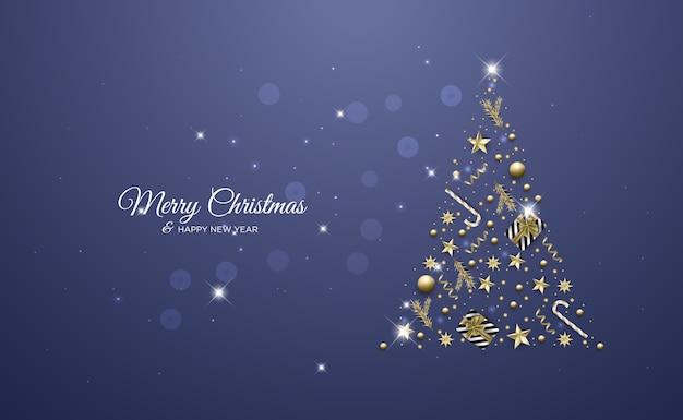Boże narodzenie kartkę z życzeniami z lekkimi realistycznymi elementami dekoracyjnymi tło boże narodzenie