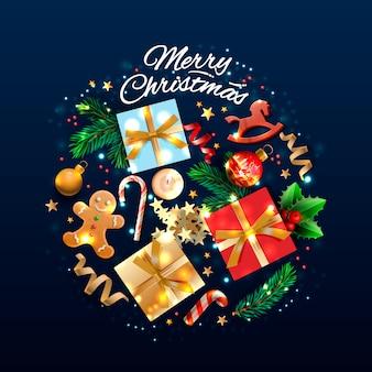 Boże narodzenie kartkę z życzeniami z obiektami wakacyjnymi. wesołych świąt i szczęśliwego nowego roku. tło z pudełko na prezent i projekt piłki. pocztówka z cukierkami, świecami i gałązkami jodły. ilustracja.