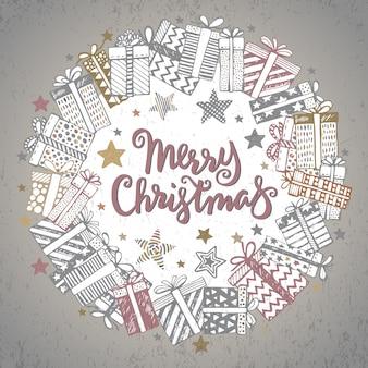 Boże narodzenie kartkę z życzeniami z ręcznie rysowane ozdobne prezenty