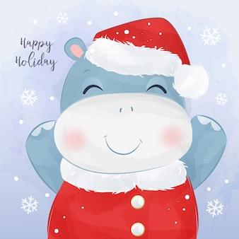 Boże narodzenie kartkę z życzeniami z wesołym hipopotamem dla dzieci. boże narodzenie ilustracja tło.